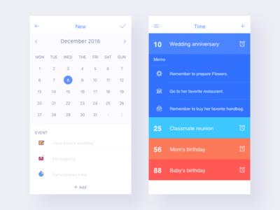 New/Time new app ui calendar memo clock alarm time