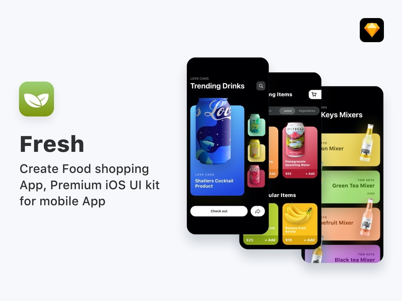Fresh - Food ordering app, UI Kit darkui uikit application cards search feed design app ux ui mobile ios
