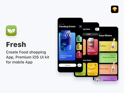 Fresh - Food ordering app, UI Kit darkui uikit application cards search feed design app ux ui mobile ios