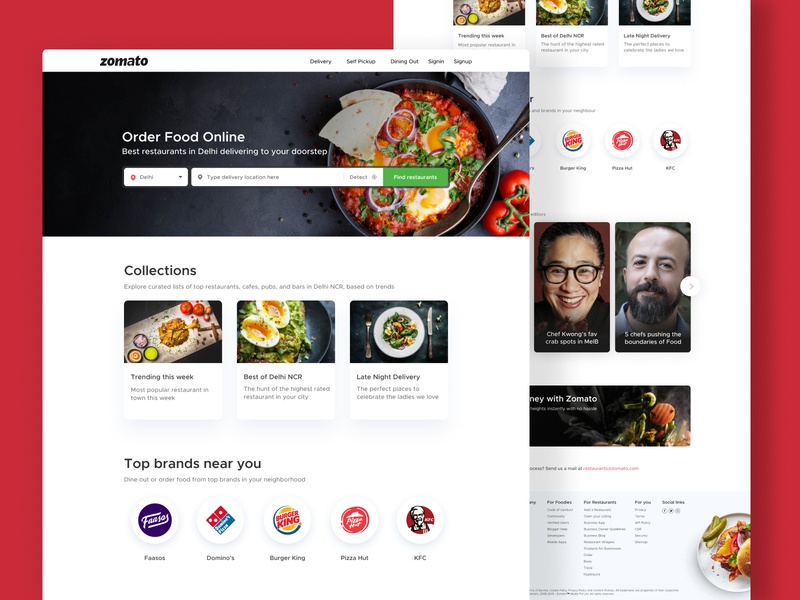 Zomato concept web home page clean foodwebsite minimal search ui ux design webdesign interface website web
