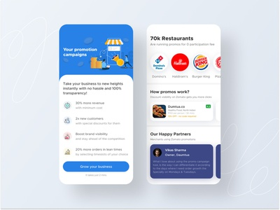 Promotion creation restaurant promotion cards search feed app design ui ux mobile android ios