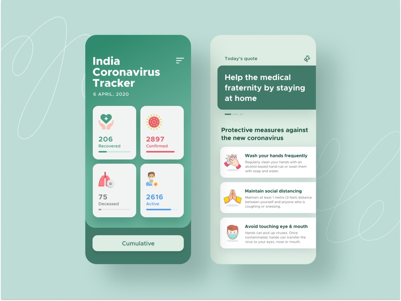 Health safety app covid19 coronavirus interface android cards search feed app design ux ui mobile ios