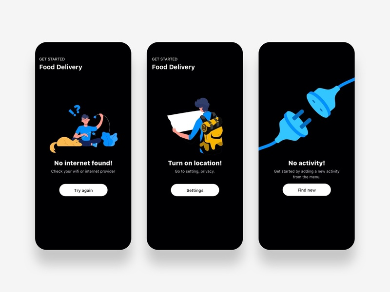 Empty state for Fresh ui kit sketch darkmode foodapp empty state android cards search feed app design ux ui mobile ios