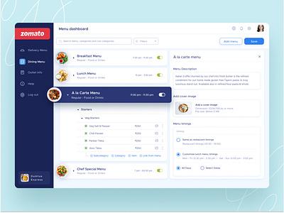 Menu tool to manage all your menus data analytics dashbaord interface application cards search design ux ui website food menu design web menutool menu