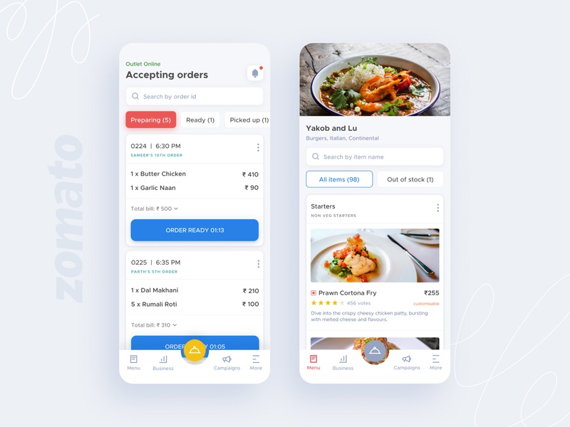 Zomato restaurant partner app food delivery android cards feed app design ios ui ux food and drink application mobile merchant catalogue foodorder order menu food