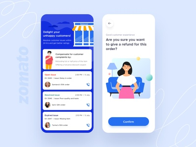 Delight your unhappy customers illustrations outlet restaurants application ui issue customer food merchant application android search cards feed app design ux ui mobile ios