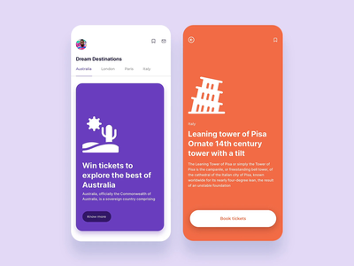 Explore beautiful cities minimal framer motion animation android search cards feed app design ux ui mobile ios