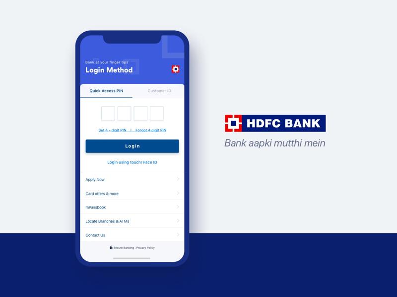 hdfc bank app login screen by shoaib prasad dribbble dribbble