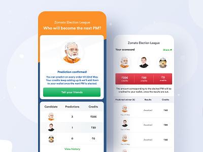 Zomato Election League ux ui illustration search match listing winner score credits pm primeminister application android scorecard prediction game voting election zomato ios