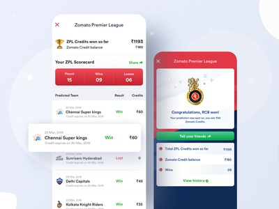 Zomato Premier League cricket ipl indian premier league payout credits payments success prediction quiz game feed events interface article cards search ui ux design ios