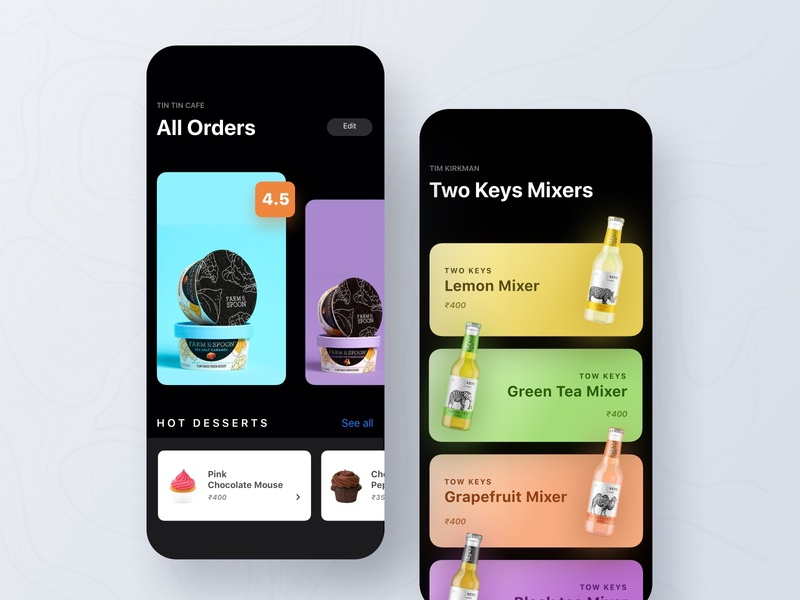 Food app foodorder blackui ios interface cards search feed app mobile ux ui food