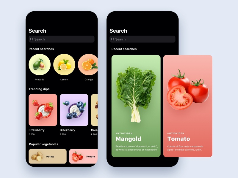 Food and drinks app health app ecommerce cards search feed design app ui ux mobile ios drinks food