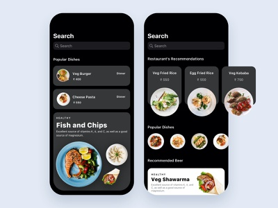 Food and drinks app foodie ios13 food and drink food application cards search feed design app ux ui mobile ios