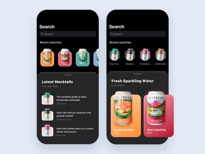 Food and drinks app ios13 darkui interface application cards search feed design app ux ui mobile ios drinks food