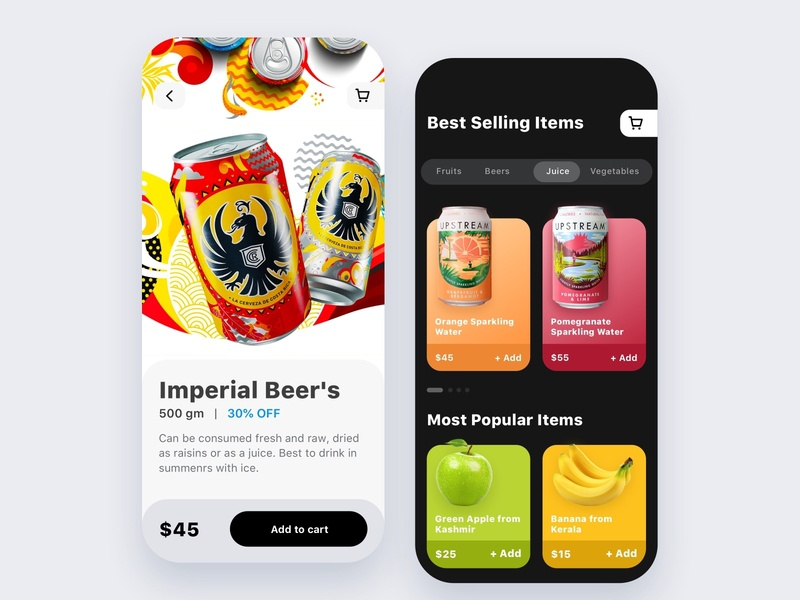 Food and drinks app shop ecommerce cards search feed design app ux ui mobile ios food and drink foodapp