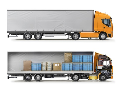 PromSvyazBank. Inside and outside infographics structure scheme transport car cut-away cutaway truck