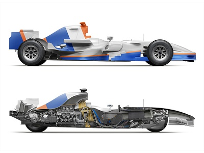 PromSvyazBank. Inside and outside infographics structure scheme transport vehicle formula cut-away cutaway car