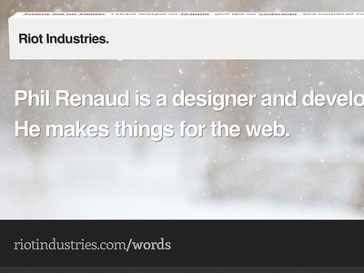 Riot Industries site interactive css3 blog portfolio