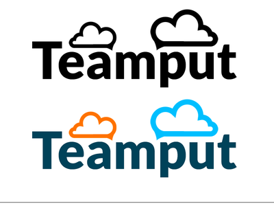 Teamput logo logo lato black and white colour clouds chat
