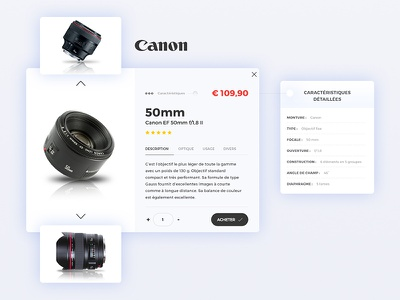Canon order price objectifs 50mm webdesign ui photography interface canon