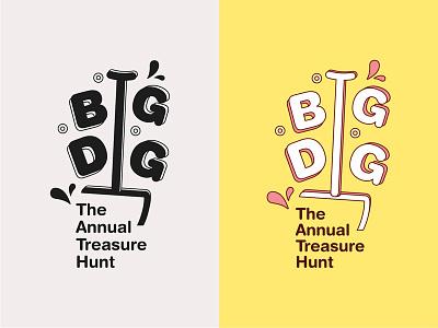 BIG DIG - beach treasure hunt compettition for kids pink spade big children logodesign logotype fun yellow beach treasure hunt kids branding logo