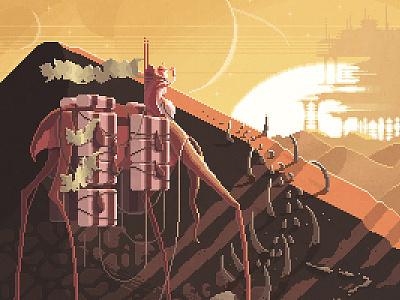 Scene #19: 'Nomads' gaming retro videogames digital painting illustration pixelshuh pixelart art