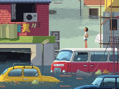 Scene #22: 'The Flood' painting digital art illustration octavi navarro pixels huh pixel art