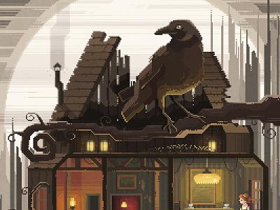 Scene #23 'Tea' night raven dark painting digital illustration octavi navarro pixels huh pixel art art