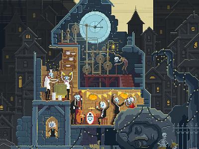 Scene #25: 'The Clock Tower' halloween horror pixels huh pixelshuh pixelart pixel art octavi navarro digital painting illustration