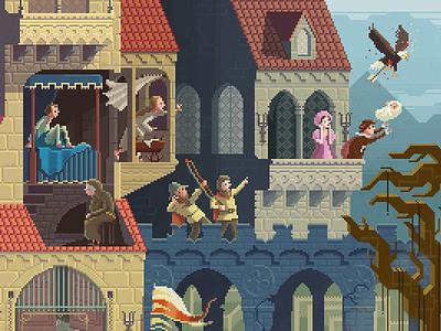 Scene #26: 'Crossroads' ghost castle medieval pixelshuh pixelart pixel art