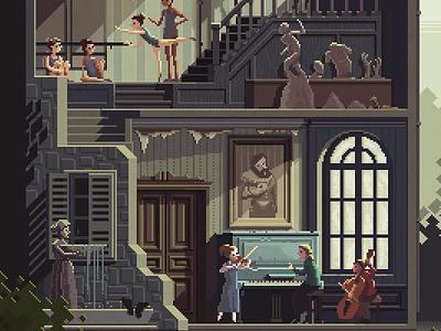 Scene #32: 'The Art School' (detail) pixel art pixels huh octavi navarro illustration art