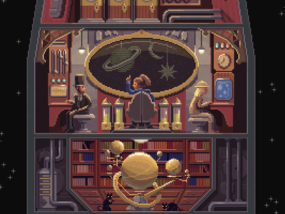 Scene #33: 'Space Explorers' pixel art pixels huh octavi navarro illustration art