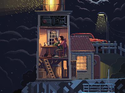 Scene #34: 'Lighthouse' art illustration octavi navarro pixels huh pixel art