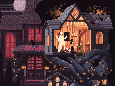 Scene #35: 'Pumpkins' halloween illustration octavi navarro pixelshuh pixelart art pixel