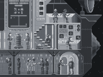 Scene #36: 'First Contact' black and white painting digital art illustration octavi navarro pixels huh pixel art