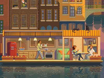 38 Untitled Pixelshuh Pixel Art cats boathouse amsterdam painting digital illustration octavi navarro pixelart art pixel