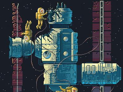 Scene #42: 'Micrometeorites' illustration art nasa space octavi navarro pixelshuh pixelart