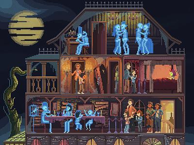 Scene #43: 'Ghost Mansion' spooky scary mansion ghosts octavi navarro pixels huh pixel art halloween