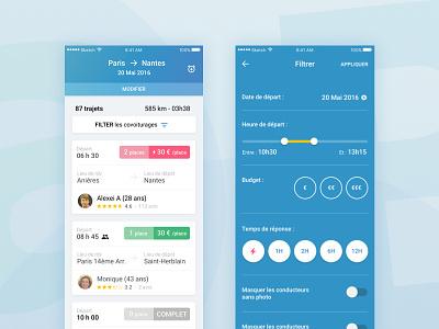 Car pooling app serp filters gradients cards service app ui
