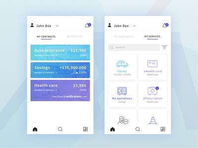 MyAXA app redesign services insurance ui colors cards design myaxa axa