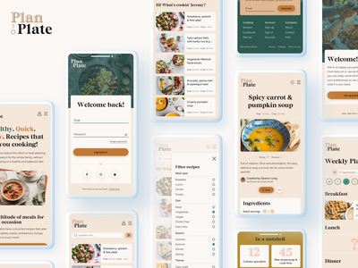 Plan-To-Plate | Responsive recipe web app | Mobile screens recipes meal planning meals food mobile web app responsive ui design ux design ui ux
