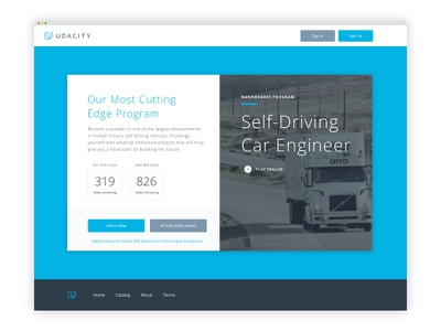 Self-Driving Car Nanodegree lander design marketing ux ui web udacity nanodegree car self-driving