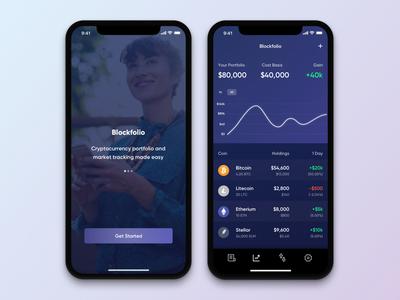 Cryptocurrency App iphonex mobile design app finances portfolio cryptocurrency crypto