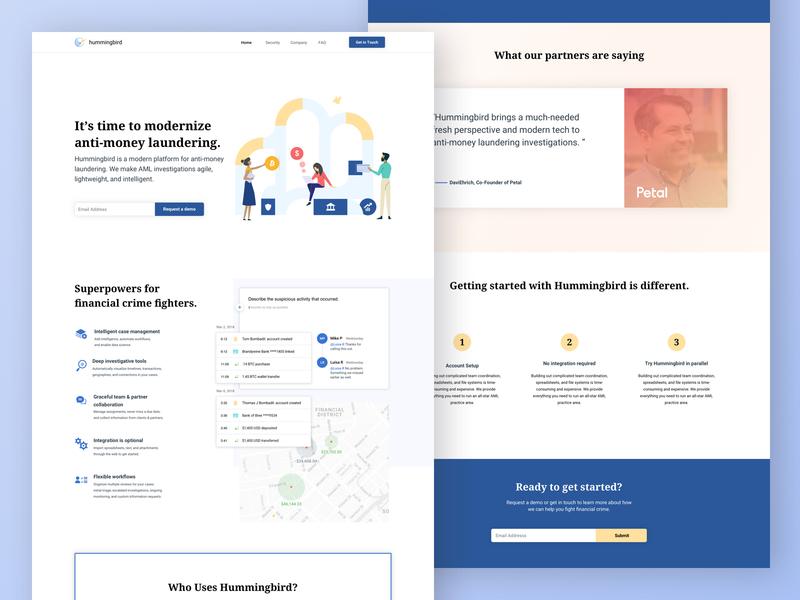 Hummingbird Co banking illustraiton iconography brand identitiy branding web design