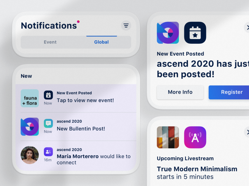 Event Notifications — Live stream + New Events icon grid event global notifications modal modals mobile ux ui space connect modern clean dailyui