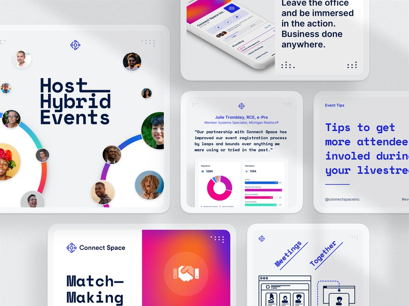 Connect Space — Instagram, LinkedIn, Facebook Social Media Posts post linkedin instagram future design brand clean dailyui marketing ux ui illustration branding event space connect minimal