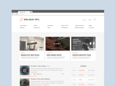 Record Label Design minimal clean typography ui ux shows player view