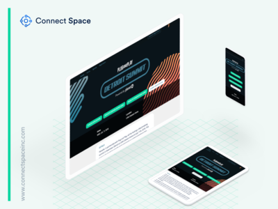 Plug and Play design work using Connect Space registration space connect branding minimal clean landing page website event grid