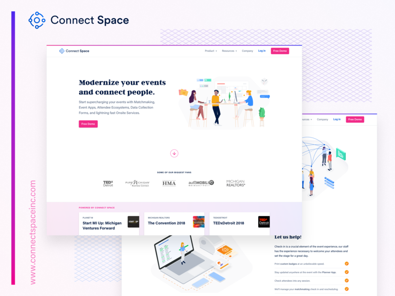Site is LIVE! Whoop. We've updated our homepage, check it out. marketing website desk collaborative collaborate collab collaboration bright vector technology event logo ui ux space connect branding illustration grid clean