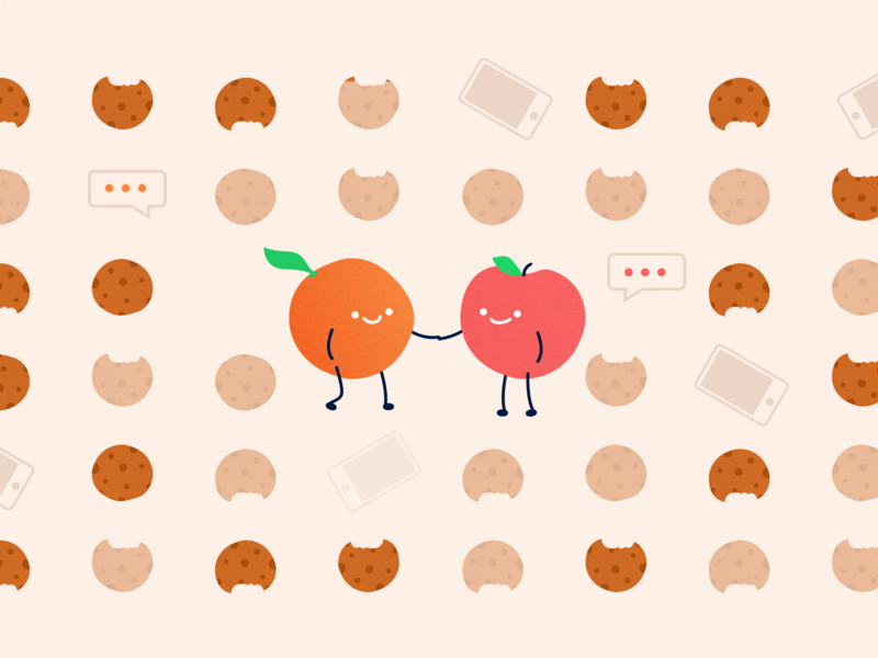 """Illustration — """"Everyone Can Get Along"""" graphic design space connect event communication shake phones conversation cookies oranges apples illustration"""